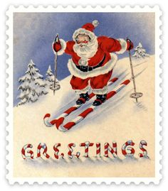 vintage Christmas stamp greeting card featuring Santa on candy cane skis