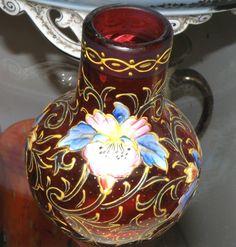 Cranberry Moser Enameled Posey Vase - Art Noveau Period  c 1890-1910  $225