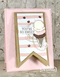 Honeycomb Happiness, Sale-a-Bration, Stampin' Up!, Ice Cream, DIY, Handmade - StampinByTheSea.com