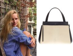 "Katrin Thormann - ""My Céline large Edge bag in black. I was walking by the Céline store in Paris and it was love at first sight. It fits my portfolio, looks chic with everything, and it's a dress-down and dress-up bag. I also wear my favorite Eva Fehren Apex necklace every day."" Céline Edge bag, price upon request For information: celine.com"