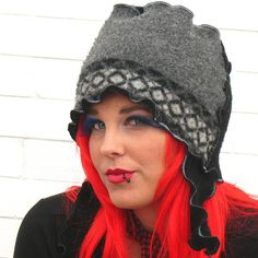 Italian Tile CURLY FLAP FEZ wool felt ear flap hat by RunzwithScissors, via Flickr  upcycled sweater  www.flickr.com