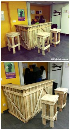 Pallet Bar with 3 Matching Stools - 15 Top Pallet Projects You can Build at Home | 101 Pallet Ideas