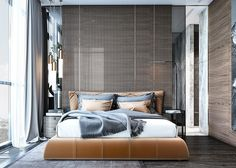 cool bedroom designs which use slats for accent wall decor ideas