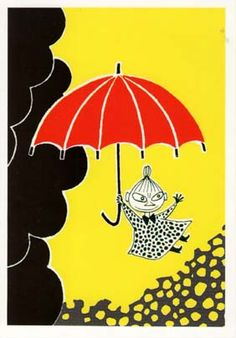 Moomin Poster Little My Tove Jansson 24 x 30 cm Moomin Books, Moomin Shop, Moomin House, Moomin Valley, Tove Jansson, Umbrella Art, Little My, Mellow Yellow, Children's Book Illustration