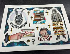"""""""You're bitchin', but you're not a bitch."""" I painted this sheet 3 times but finally got it right. If you love this movie as much as I do you'll enjoy these. All available to be tattooed! #donniedarkotattoo #donniedarko #louieburger #southbaytattoo #spitshade #movieflash #frankthebunny #whyareyouwearingthatstupidmansuit #chutup #traditional #traditionaltattoo #hungryhungryhippos #jennamaloneishot #imnotafraidanymore!!"""
