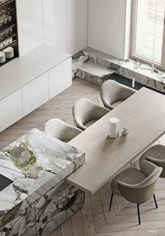 How to design your kitchen design in a thematic area – lamp ideas Modern Kitchen Design, Modern Interior Design, Interior Design Kitchen, Marble Interior, Küchen Design, Layout Design, House Design, Flat Design, Casa Kardashian