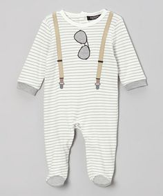 Look at this #zulilyfind! Cream & Gray Stripe Sunglasses Footie by Isaac Mizrahi New York #zulilyfinds