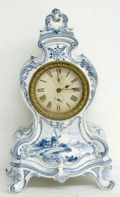 ♥ ~ ♥ Blue and White ♥ ~ ♥ Royal Bonn Delft Mantle Clock Delft, Mantle Clock, Clock Decor, Antique Clocks, Rare Antique, Vintage Clocks, Vintage Signs, Blue And White China, Blue China