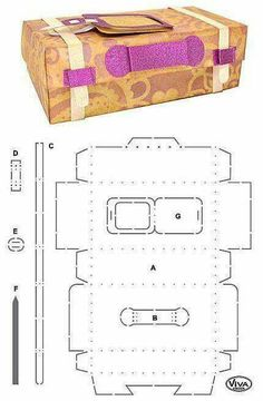 Suitcase gift box measuring about 14 cm x cm x 8 cm - template Diy Gift Box, Diy Box, Printable Box, Printables, Box Patterns, 3d Paper Crafts, Pillow Box, Craft Shop, Little Boxes