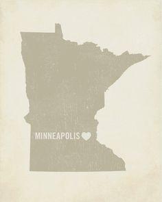 I Love Minneapolis Wood Block Art Print  Minnesota by LuciusArt, $39.00