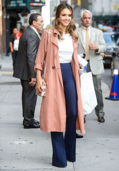 Jessica Alba makes her camel trench coat the focal point of her outfit seen here in New York.