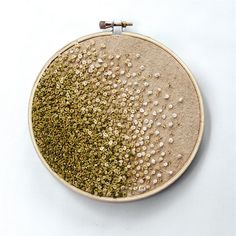 Mossy Green Gradient Embroidery Hoop Art - French Knots and Beads