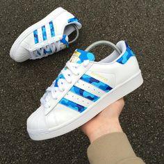 89e746d04b1f adidas Originals Superstar Blue Camo Panels Customs Logo Adidas