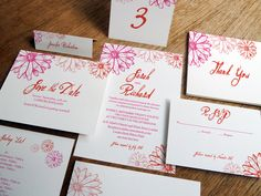 Printable Wedding Invitation Kit  Hot Daisy by empapers on Etsy