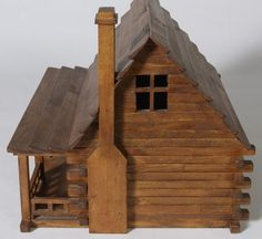 log cabin roofs | With removable roof and working doors, handmade log cabin doll house ...