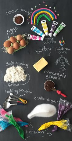 The chalk board of ingredients needed for the wonderful rainbow tin-can cake So simple to make and tastes amazing! Cake In A Can, Sugar Frosting, Chocolate Spread, Chalk Board, St Patricks Day, Super Easy, Cocoa, Sweet Treats, Tasty