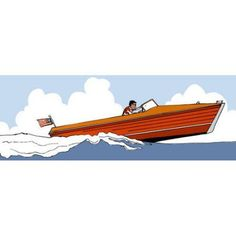 Oopsy Daisy - Speed Boat Canvas Wall Art 36x18, Katy Yeaw