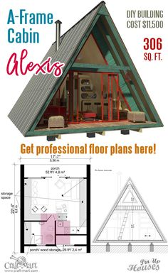 A Frame Tiny House Plans These small house plans with a loft well worth their price considering you may consult the architect through email or website in case of any construction questions. One of the best A-frame house plans on the market! A Frame House Plans, House Plan With Loft, House Plans One Story, A Frame Floor Plans, A Frame House Kits, Cabin Plans With Loft, Shed House Plans, Unique Small House Plans, Small House Floor Plans