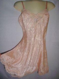 VINTAGE VICTORIA'S SECRET Peach Lace Teddy Lingerie Baby Doll NightGown S (M) #VictoriasSecret
