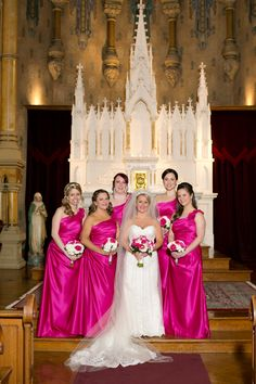 White & Hot Pink Bridal Party