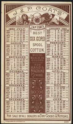 J. & P. Coats' best six-cord spool cotton and Cleopatra's Needle - the greatest thread and needle in the world. [back] | Flickr - Photo Sharing!
