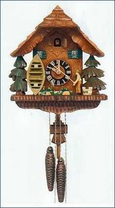 Animated Fisherman Cuckoo Clock. h1Animated Fisherman Cuckoo Clock_h1When the clock strikes the hour or half-hour the door opens, a cuckoo appears and calls along with the clocks gong strike. At the same time, the patient fisherman pulls in his cat.. . See More Cuckoo Clocks at http://www.ourgreatshop.com/Cuckoo-Clocks-C1122.aspx