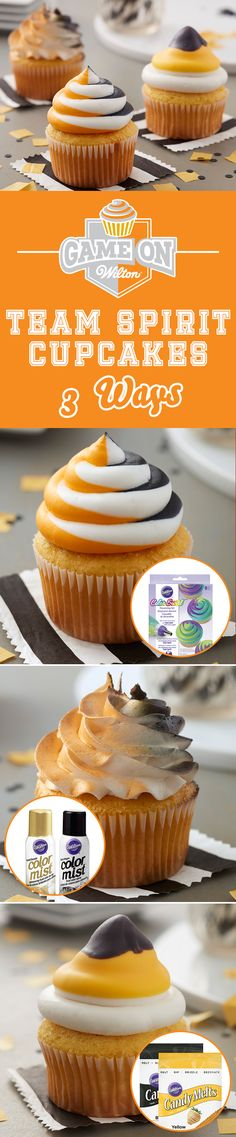 How to Make Team Spirit Cupcakes in 3 Ways - Show off your team spirit with these Team Spirit Cupcakes that you can make in three easy ways. Customize your cupcakes to create your own team colors using Wilton's Candy Melts, Color Mist, and Color Swirl. Great for homecoming celebrations, tailgating parties and big sporting events, these tasty cupcakes are a fun way to show off your team pride!