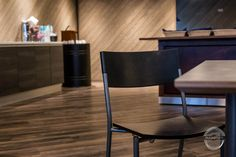 Modern restaurant design from wood This lunch restaurant got new rustic style. Wooden bar desks are made from ash wood. Modern Restaurant Design, Lunch Restaurants, Wooden Bar, Rustic Interiors, Rustic Style, Desks, Ash, Interior Design, Chair