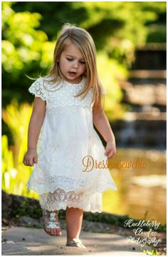 IN STOCK AND READY TO SHIP  Cream Embroidered Chiffon Lace/Cotton Crochet Trim Lace GIRL Dress  Headband cost $12 extra with dress purchase. If you like to add it, please message me.  Approximate measurements: Size....Chest...Length.. Age:............... 2T.......21..........20......1 year old.......OUT OF STOCK 4T........23.........22.....2-3 year old, 2 in stock 5T........24.........24.....3-4 year old, 2 in stock 6T........25.........25.....4-5 year old, knee length, 1 in stock…
