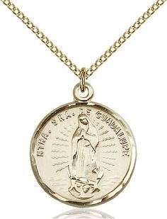 Bonyak Jewelry Our Lady of Prompt Succor Hand-Crafted Oval Medal Pendant in 14kt Yellow Gold-Filled