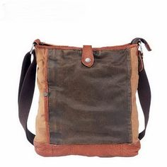 This vintage designed bucket messenger bags for hunter.  Features:  Made from leather and canvas. A exterior front zipper pocket; Brown leather trims on the bottom of front and the adge of the top. Dark coffee coated canvas patch on the front. Top zipper closure with press snap. Inside h...