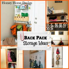 Back to School Organization. Ideas for backpack storage. Homey Home Design. School Backpack Organization, Backpack Storage, Backpack Bags, Entryway Organization, Organization Hacks, Organizing Life, Household Organization, Diy Storage, Storage Ideas
