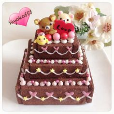 Three tiered chocolate biscuit cake