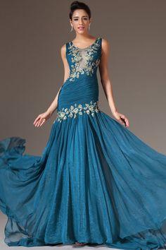 Teal Court Train Jewel Mermaid Elastic Woven Satin Sleeveless Dress DWD1882 -