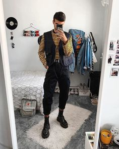 I'm really in love with this outfit, sadly it's almost summer 😭 Do you prefer it with or without vest? I love the 🤪😎 utility vest from theraggedpriest Mens Fashion, Fashion Outfits, Guy Outfits, Dr Martens Men, Black Pants Outfit, Utility Vest, Androgynous Fashion, Crop Top Outfits, Thrift Fashion
