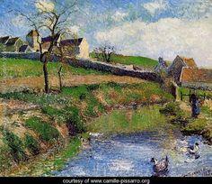 View of a Farm in Osny - Camille Pissarro - www.camille-pissarro.org