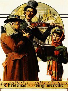 1923  Norman Rockwell   Le Trio de Noel, The Trio of Christmas  Huile sur Bois  75x55 cm.jpg