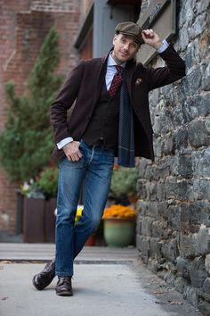 WEARING | Uniqlo blazer, Vintage YSL waistcoat, Shirt c/o Eton, A.P.C. jeans, Goorin Bros. hat, Brooks Brothers tie, Beams Plus scarf, Pocket square c/o Bows N Ties, GothamSmith cuff links, Timex watch, Boots c/o Allen Edmonds | PHOTOGRAPHY | by Rob McIver Photo