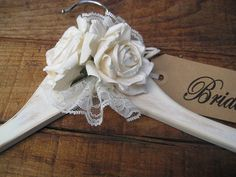Items similar to WEDDING DRESS HANGER wedding hanger rustic rustic chic woodland wedding personalized brides hanger/name hangers/rustic chic custom gift on Etsy Bride Hanger, Wedding Dress Hanger, Wedding Hangers, Padded Coat Hangers, Diy Clothes Hangers, Wire Hanger Crafts, Wire Hangers, Bridal Shower Gifts For Bride, Shabby Chic Crafts