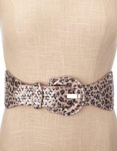 CHARLOTTE RUSSE: Sequin Leopard Stretch Belt [Black Combo] $9.50