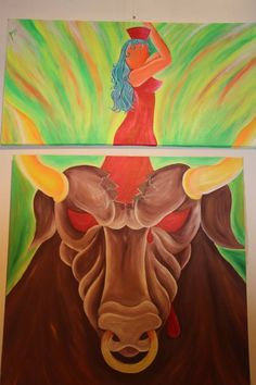 """Strength and Beauty"" Diptych, measures approx. 1,230 mts. X 2 meters. total. FOR SALE"