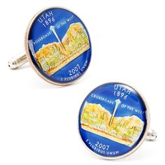 Hand Painted Utah State Quarter Cufflinks by Cufflinksman #Cufflinks #Fashion #Jewelry #shopping