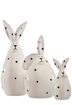 White & Black Polka Dot Rabbits - so cute Perfect for Easter at your house Bunny Art, Connect The Dots, Black N White, Black Dots, Take Me Home, All The Colors, Rabbit, Polka Dots, Pottery