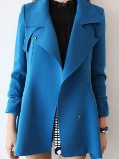 Lapel Dip Hem Trench Coat In Blue