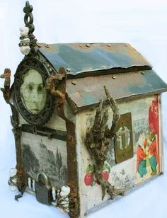 Unspoken Birdhouse Shrine Found Object Assemblage by Lorraine Reynolds