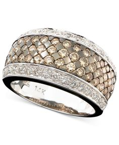 ⭐️⭐️⭐️⭐️⭐️Le Vian 14k White Gold Ring, Chocolate and White Diamond Band
