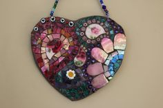 Check out our mosaic heart selection for the very best in unique or custom, handmade pieces from our art & collectibles shops. Red And Pink, Pink Blue, Blue Green, Mosaic Glass, Stained Glass, Fused Glass, Frames On Wall, Framed Wall Art, Heart Projects