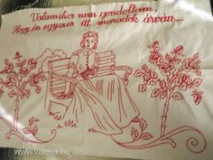 Red Words, Folk Art, Embroidery, Tableware, Blog, Craft, Drop Cloths, Wood, Red