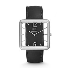 Taking a cue from mid-century clocks, this quirky and functional two-hand features a see-through square dial with raised indices, giving the illusion of a one-piece leather strap going through the watch.