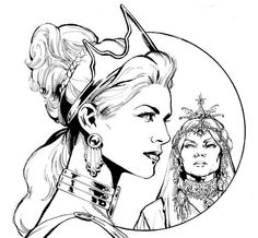 Some #Inktober fun from my (defunct) #SensationComics pitch. The SA #Hippolyta and the Queen from #WonderWoman77!
